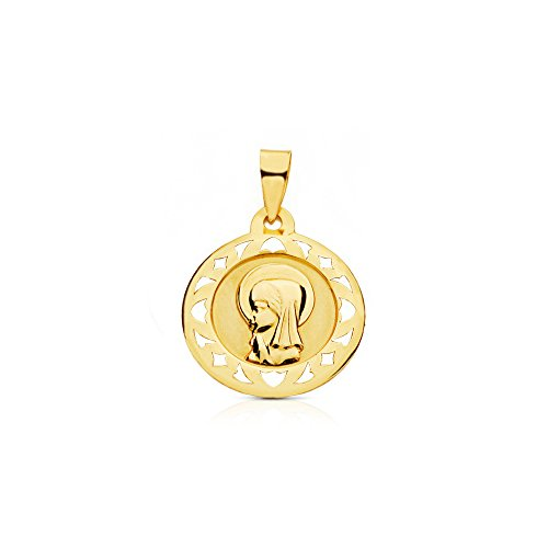 Medalla Oro redonda Virgen Niña cerco calado (9kts)