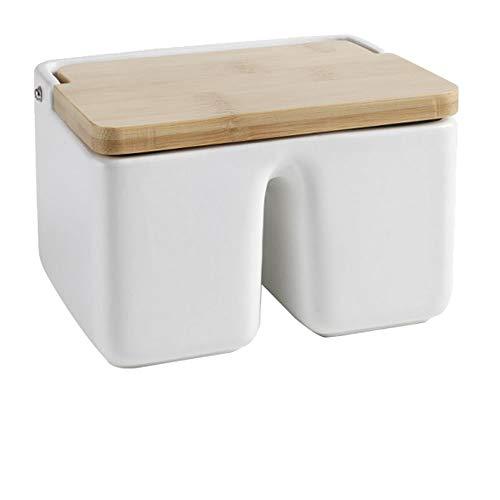 Salero de Doble Compartimento con Cuerpo Cerámico y Tapa de Bambú
