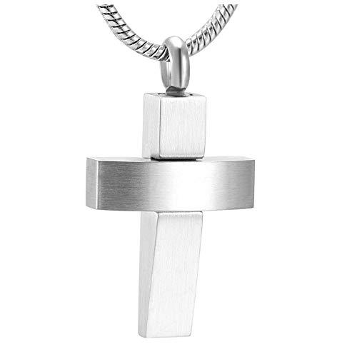 Wxcvz Collar para Cenizas Personalizar Grabado De Acero Inoxidable Cruz Canister Cápsula Memorial Recuerdo Joyería Ceniza Colgante Collar De Urna De Cremación