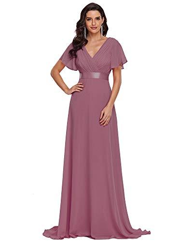 Ever-Pretty Damen Abendkleid Frau A-Linie Festliches Kleid V Ausschnitt Hochzeit lang Orchidee 42