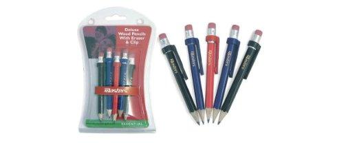 Masters houten potloden met clip en gum 5pk