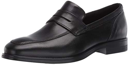 ECCO Men's Queenstown Penny Loafer Dress Oxford, Black, 10-10.5