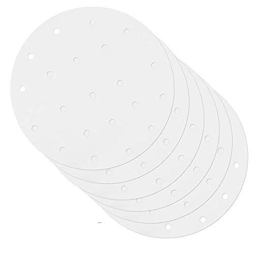 ShawFly - Confezione da 100 pezzi di carta pergamena rotonda per friggitrice ad aria 20,2 cm (8 10 pollici) per dolci e torte, forno a microonde (8)