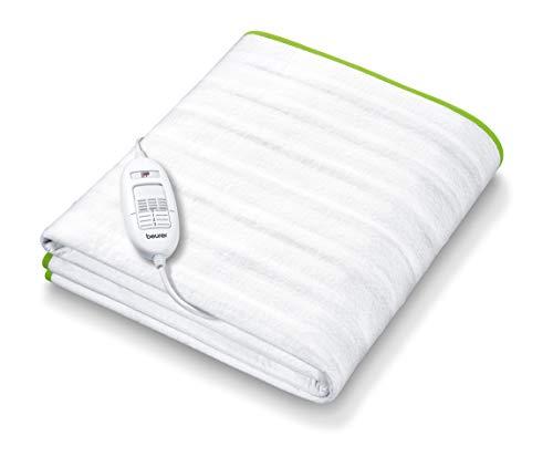 Beurer TS15 Calientacamas individual con tiras de sujeción, transpirable, tacto suave, lavable, 3 potencias, display iluminado, cama individual, 80x150cm, blanco, 303.00