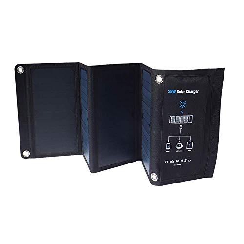 SEESEE.U Panel Solar Plegable, Cargador Solar, Cargador Solar Impermeable USB de 2 Puertos y 28 W para Samsung, Compatible con iPhone de Apple, iPad de Apple, Powerbank, Tableta, Gopro