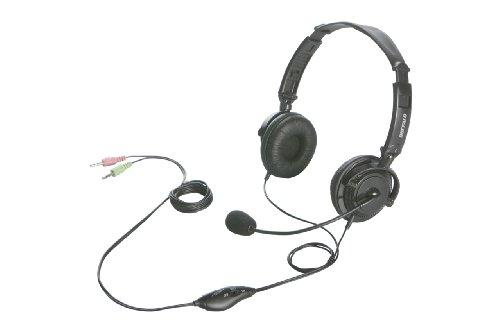 BUFFALO 両耳ヘッドバンド式ヘッドセット 半密閉/ノイズキャンセリングマイク搭載 ブラック BSHSH12BK