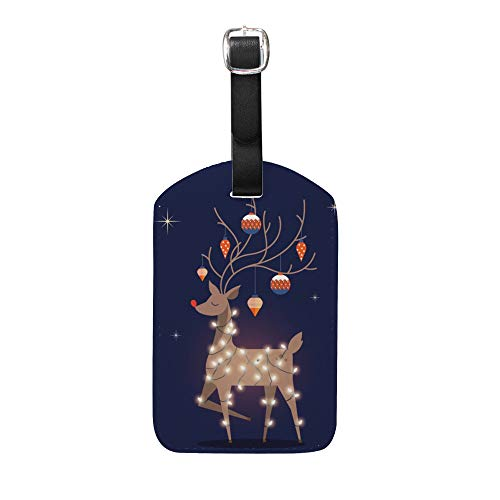 Kuizee Luggage Tags Set Suitcase Labels Bag Reindeer Christmas Party PU Leather Travel Back Privacy Cover Identification Label Insert Personalized 5 Inch,2 Pieces