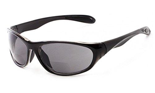 +1.75 Schwarz Lesebrille Sonnenbrille Bifokal, 100% UV-Schutz Getönte Gläser, Männer Sport Zeitlos Fall & Stoff