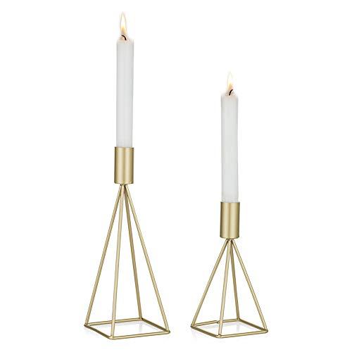 Sziqiqi Kerzenständer Kerzenhalter Kerzenleuchter 2er Set, Metall Deko Kerzenständer in Unterschiedlicher Größe, Vintage Kerzen Ständer Tischdeko für Hochzeit Wohnzimmer Tabelle, Gold