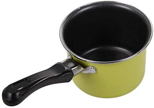 WUZHOOA Olla de Leche Milk Pot con Tapa Mini Milk Pan Pan Chocolate Sauces Cocina Pan, Picnic Portátil Cocina Cocina Cacahuete (Color : Green)