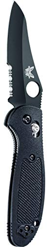 Benchmade - Mini Griptilian 555 Knife with CPM-S30V Steel, Sheepsfoot Blade, Serrated Edge, Coated Finish, Black Handle, Made in USA