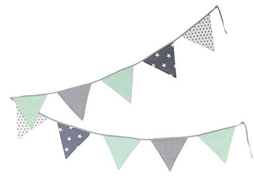 Guirnalda de banderines de ULLENBOOM  con menta gris (guirnalda de tela: 3,25 m; 10 banderines; decoración para la habitación de los niños; fiestas de bienvenida para bebés)