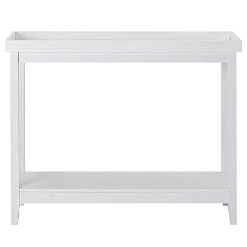 XJZKA 2 Tier Console Sofa Side Table Bookshelf Entryway Accent Tables With Storage Shelf Living Room Entry Hall Table Furniture - White