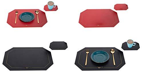EACHPT 4pcs Set de Table et Dessous de Verre Set de Table en Cuir PU avec sous Verre Tapis de Table antidérapant résistants Chaleur napperons de Table pour Table à Manger Cuisine Maison Décor