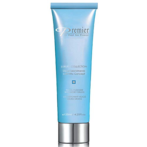 Premier Dead Sea Facial Cleanser with Micro Grains, Luxury collection foaming face wash, daily use skin care, nondrying, anti-aging Skin Care with aloe vera, witch hazel, Dermatologist Tested 4.2fl oz