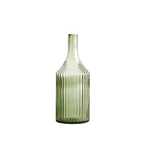 LICHUAN Jarrón de rayas verde claro pequeño jarrón de boca para sala de estar, arreglo de flores, florero de cristal, decoración del hogar, decoración del hogar (color: C)