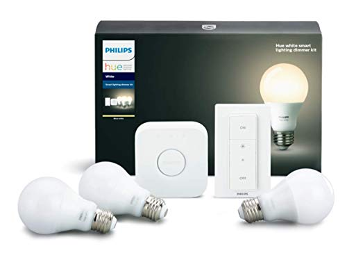 Philips Hue White B Smart Lighting Bundle with 3 A19 Bulbs, Dimmer Switch, and Hub. Compatible with Amazon Alexa Apple HomeKit and Google Assistant, 3 Pack