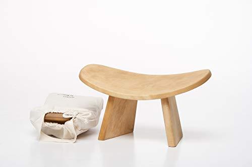 BLUECONY IKUKO Original Meditation Bench, Travel Version, Wooden Kneeling Ergonomic Seat - Natural, Standard Height
