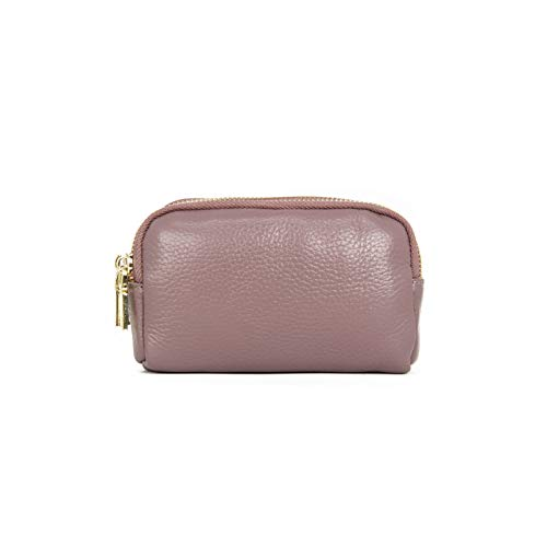 Women's Three-Layer Zipper Key Case Mini Coin Purse Small PU Leather Purse by Buenos Aire - purple - One Size