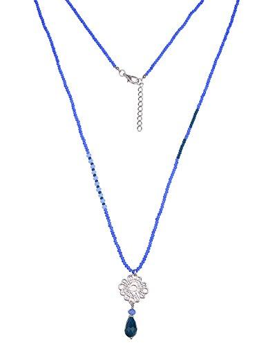 Leslii Damenkette echter Natur Stein Blüten Anhänger Steinkette Modeschmuckkette Lange Halskette für Damen in Silber Blau
