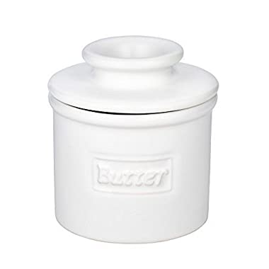 The Original Butter Bell Crock by L. Tremain, Cafe Matte Collection - White Matte