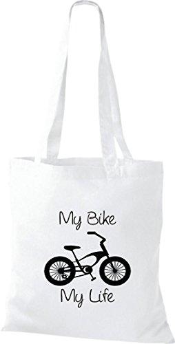 Unbekannt Stoffbeutel Fahrrad my bike my life BMX Kult Baumwolltasche, Beutel, Farbe weiss