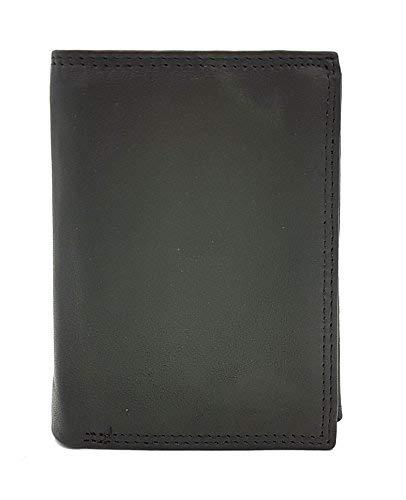 echt Leder (Voll-Rindleder) Geldbörse Portemonnaie mit großem Ausweisfach (rosa Führerschein), Scheinfächer aus echtem Velourleder und 8 Kartenfächern, Doppelnaht außen