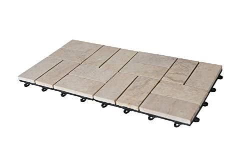BodenMax® Naturstein Travertin Click Bodenfliesen Set 30 x 30 cm Terrassenfliesen Stone Terrassenplatte Stein Fliese beige Klickfliesen Muster Stück (2 Stück) 0.18 qm