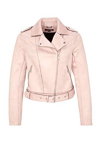 comma Damen Biker-Jacke aus weichem Velourleder Blush 34