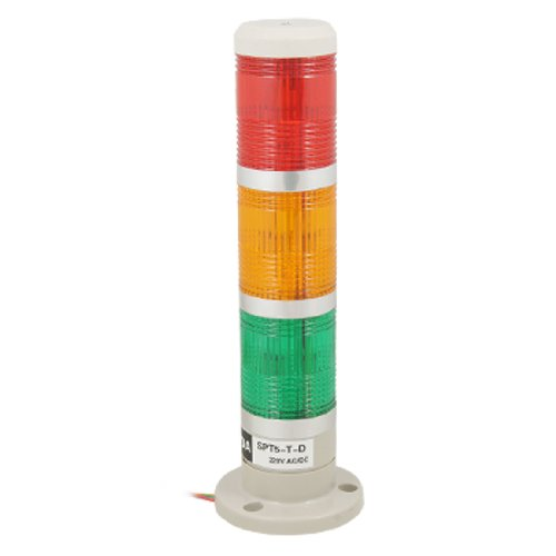sourcingmap 220V Industriel LED Signal Tower Safety Pile Lumière Rouge Jaune Vert