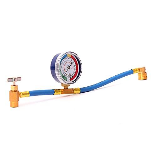 R134A - Tubo di ricarica per aria condizionata con misuratore di liquido refrigerante per auto, tubo di riempimento R134a Refrigerant Recharge Pantalone Car Air Conditioner Fluoride Pressure Gauge