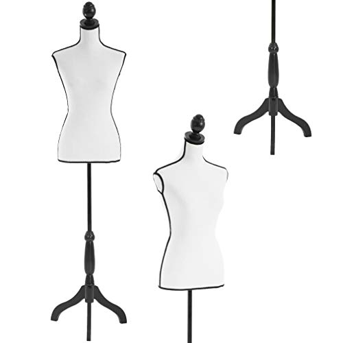 Dress Form Female Dress Model Torso Display Mannequin Body 60-67 Inch Height Adjustable Tripod Stand (White/Black)