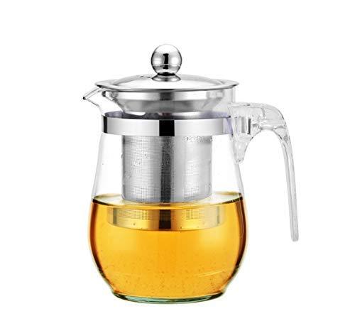 YLJYJ Tetera pequeña Tetera de Vidrio Resistente al Calor para Tetera de Hojas Sueltas Jarra de Jugo de Agua fría Caliente 500ML (Seta de té)