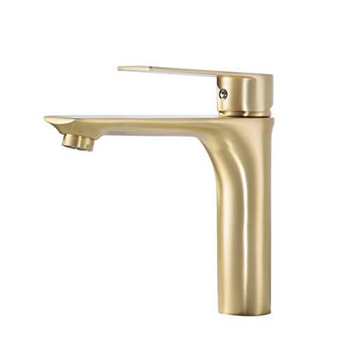 QCSMegy Matt cepillado oro oro luz lujo lavabo grifo caliente y frío lavabo lavabo en el escenario