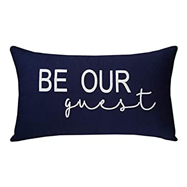 EURASIA DECOR DecorHouzz Be Our Guest Embroidered Pillow Cover Pillow Cases Throw Pillow Decorative Pillow Wedding Birthday 12 x20  (Navy)