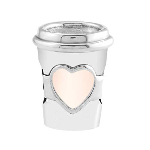 Coolaste, charm estivo 2018 a forma di tazza da bere a go, con perline smaltate rosa, in argento 925, adatto per braccialetti originali Pandora, gioielli alla moda