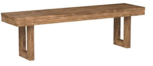 """Elmwood Rustic """"U"""" Base Bench Wired Brush Nutmeg"""