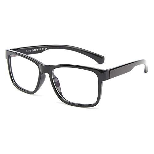VEVESMUNDO Kinder Brille Anti Blaulicht Brillenfassung Compterbrille Ohne Sehstärke Silikon Groß Klassische Brillenrahmen Für Jungen Mädchen Teenager mit Brillenetui (helles schwarz)