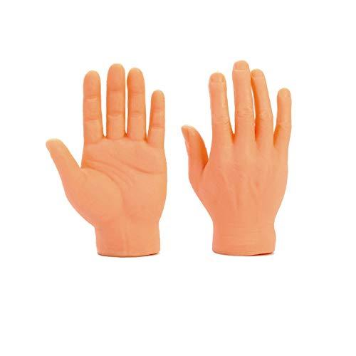 cinsey 1 Paar Finger Neuheit Lustige Hand Finger Puppen,Tiny Hands Kleine Hände Fingerpuppen Linke und Rechte Hand Zaubertricks für Familie Freund Spiele Party,Lustiger Katzenstock (Beige)