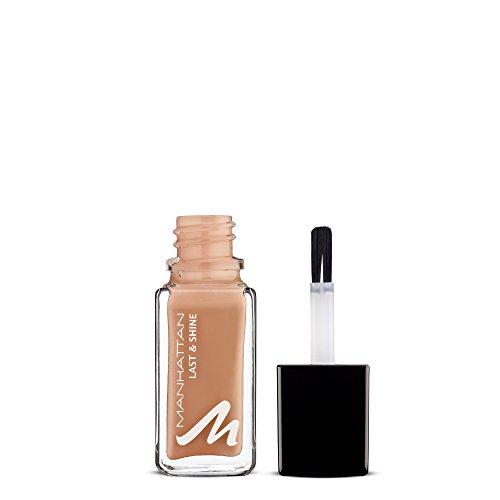 Manhattan Last & Shine Nagellack, Hellbrauner, glänzender Nude Nail Polish für 10 Tage idealen Halt, Farbe Nude Lux 465, 1 x 10ml