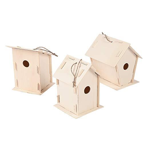 Fun Express DIY Wood Birdhouse Kits for Kids to Build (Bulk Set of 12) DIY Bird House Kit Unfinished Wood