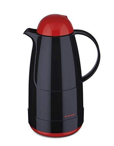 ROTPUNKT Isolierkanne 215 Christine 1,5 l | Zweifunktions-Drehverschluss | BPA Frei- gesundes Trinken | Made in Germany | Warm+Kalthaltung | Black/Electric Cardinal