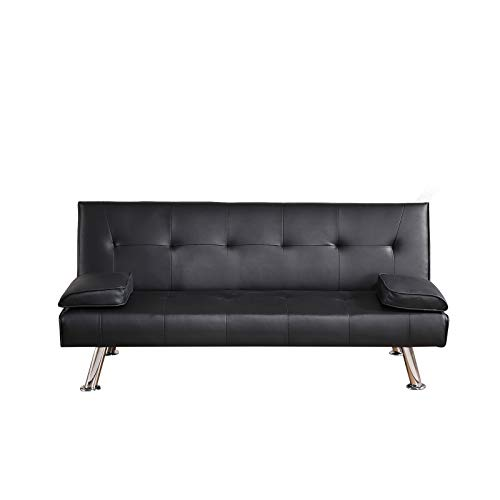Trintion Sofa Bed Faux Leather 3 Seater Click Clack Sofabed Folding Sofas Couch Recliner Settee for Living Room, Guest Room, Bedroom Classic Black