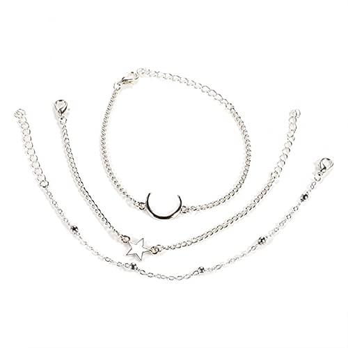 ROTAKUMA Pulsera De Metal De Bead De Luna De 3 Piezas Sistema De Pulsera con Encanto Joyería De Niña (Metal Color : Silver)