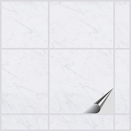 FoLIESEN Fliesenaufkleber 15x15 cm - Fliesen-Folie Bad - Klebefolie Küche - 50 Klebefliesen, Dekor White Marble