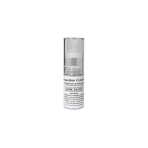 Sugarflair Comestible Polvo Soplo No-Aerosol Spray de Brillo - PLATEADO OSCURO