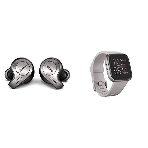 Jabra Elite 65t True Wireless Bluetooth In-Ear Kopfhörer (Sprachsteuerung für Alexa, Siri, Google Assistant)+Fitbit Versa 2–Gesundheits und Fitness Smartwatch,Steingrau/Nebelgrau,mit Alexa-Integration
