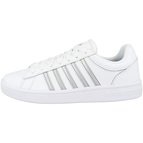K-Swiss Womens Court Winston Sneaker, White/White/Silver, 39 EU