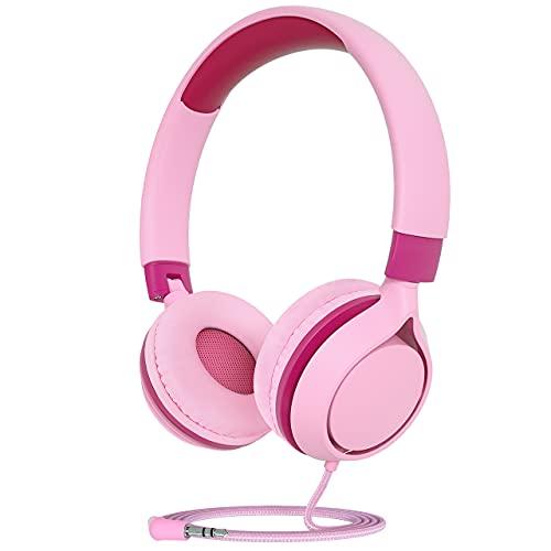 Pahasur Kids Headphones, Pink Wired Headphones for Kids Children Girls with...