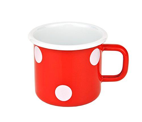 Münder-Emaille - Becher - Henkelbecher - Tasse - Rot mit weißen Tupfen - Ø8xH8cm - 250 ml